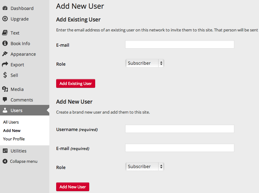 How to add a new user in Pressbooks