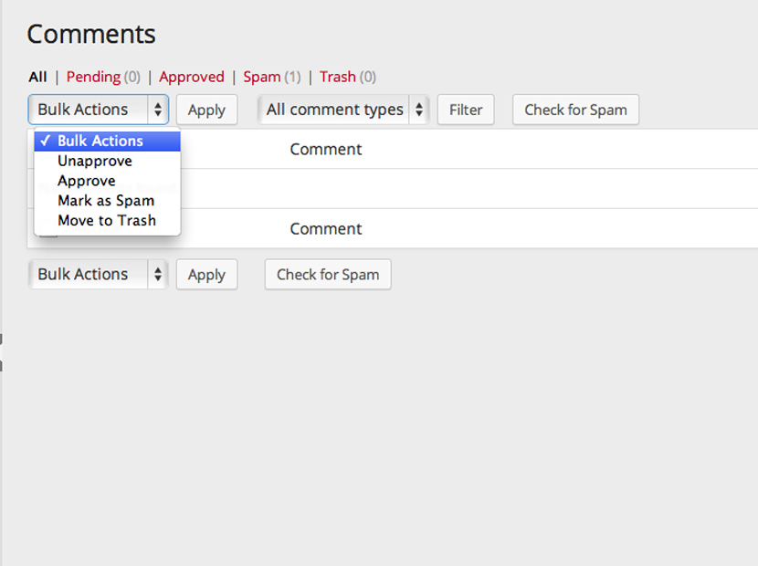Bulk actions comment moderation in Pressbooks