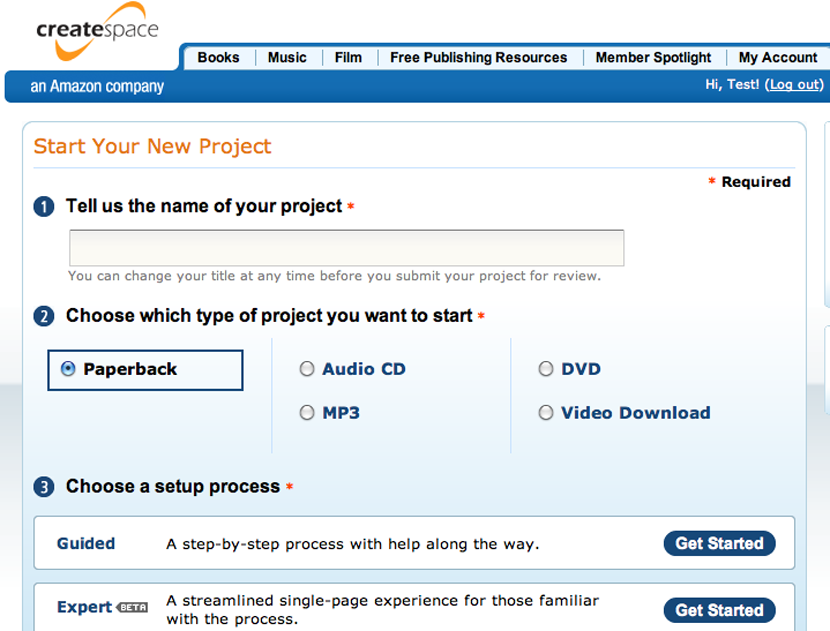 Choose the Guided Setup option in CreateSpace.