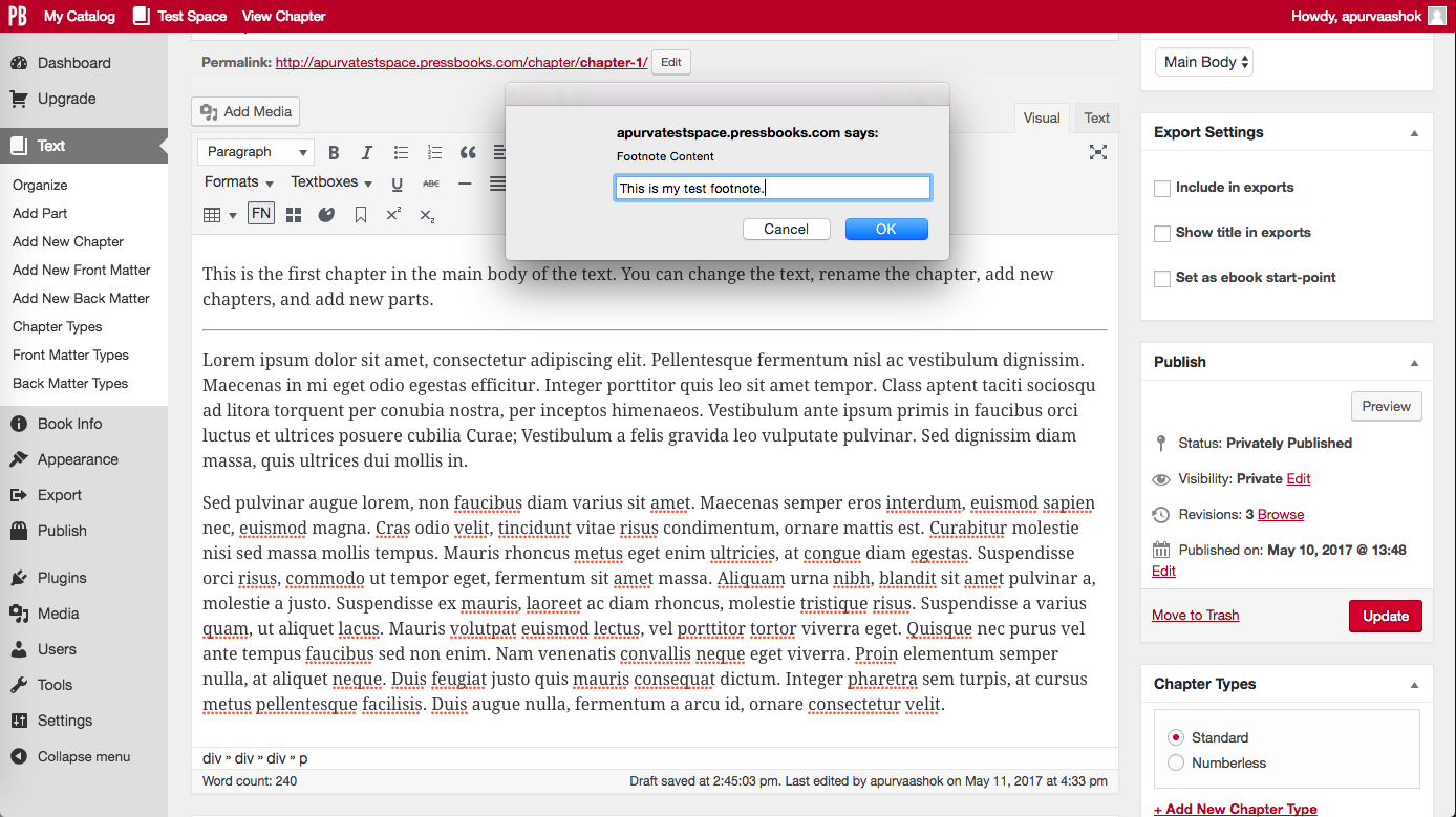 Footnotes and chapter endnotes pressbooks userguide click fn button and type footnote into ccuart Image collections