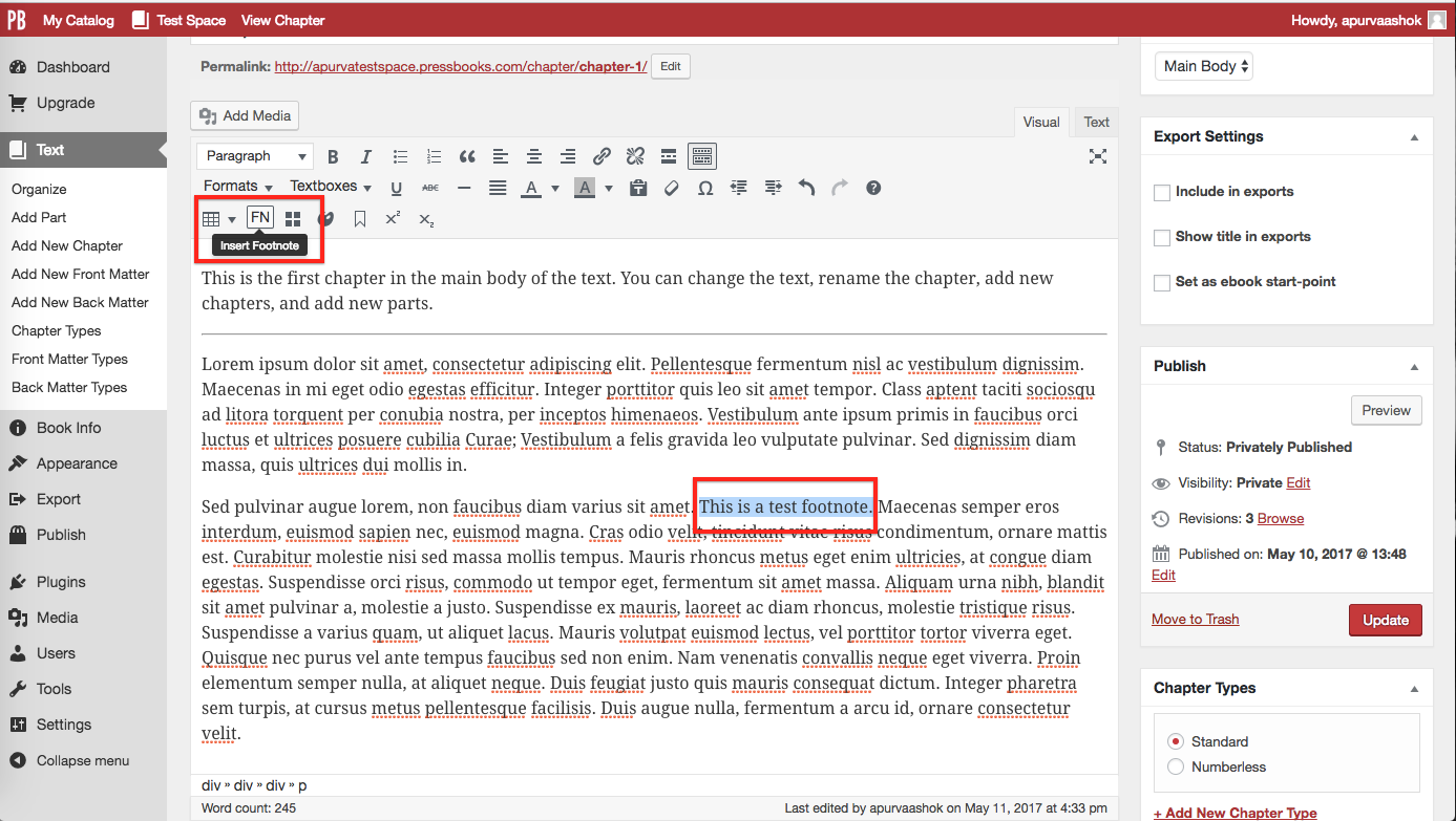 "Highlight footnote text and click ""FN"" button"